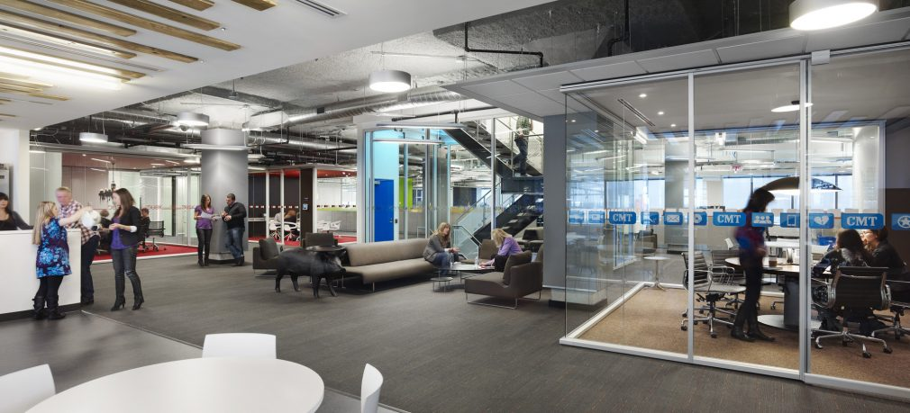 Corus Entertainment Toronto's open office. Wide open spaces and plenty of areas to meet with your collaborators